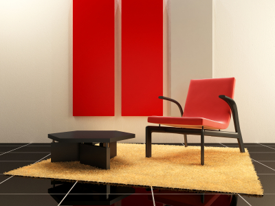 Red Chair and Cabinet