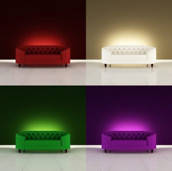 Four coloured sofas